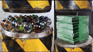 Ultra-thick tempered glass, glass ball vs hydraulic press