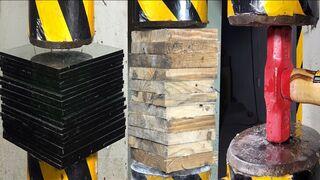 Hydraulic press vs50 glass, hammer, wooden board