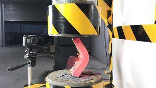 200 tons of hydraulic pressure, flattened 5 cm steel plate?