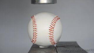 Baseball vs Hydraulic Press - Home run