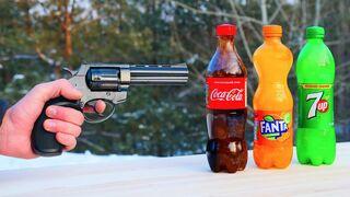 Experiment: Gun vs Cola, Fanta, 7up