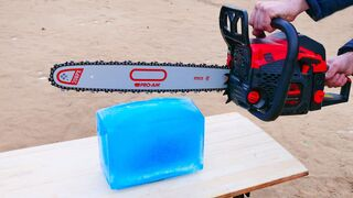 Experiment: Chainsaw vs Ice block