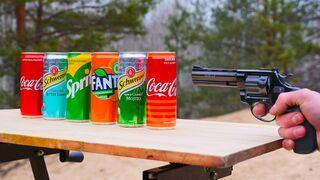 Experiment: Gun vs Coca Cola, Fanta, Sprite
