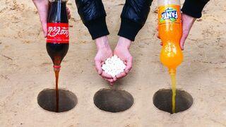 Experiment: Cola, Fanta, Sprite and Mentos Underground