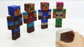 Monster Magnets Vs Minecraft Dungeons   Make Minecraft Dungeons Characters with Magnetic Balls