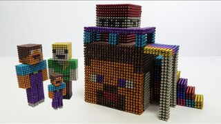 How To Build House Steve & TNT Minecraft with Magnetic Balls