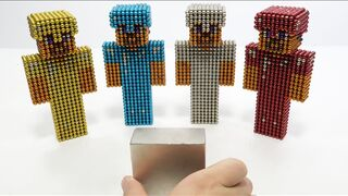 Monster Magnets Vs Minecraft Steve With Diamond Armor, Gold, Silver, Ruby Armor