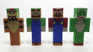 Super Mario Bros. in Minecraft Vs Monter Magnets   Make Mario with Magnetic Balls