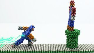 Sonic The Hedgehog Vs Super Mario with Magnetic Balls (Stop Motion)