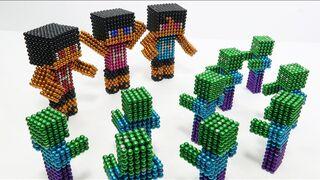 Minecraft Son of Herobrine Hekko Vs Zombie Vs Monster Magnets (Stop Motion)