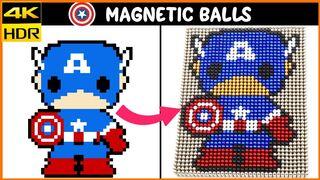 Nanodots Captain America from Magnetic Balls | Pixel Art | Top 10 Magnetics
