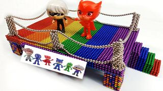 PJ Mask Toys Play On Rainbow Playground - How to make This by 47000 Magnetic Balls  - BuPi Show 4k