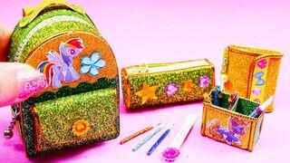 DIY #Miniature #UNICORN #School Supplies ~ #Backpack, Notebook, Pen, Pencil Case