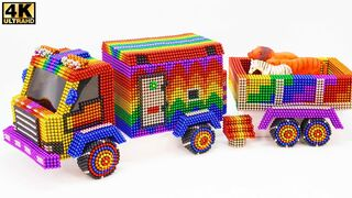 How to make an animal delivery truck, tiger, lion, zebra, unicorn, from magnetic balls (ASMR)