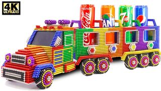 DIY - How To Make Delivery Coca cola, Fanta, Pepsi, 7 Up Truck From Magnetic Balls | ASMR Satisfying