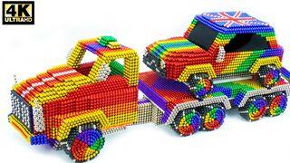 DIY - كيف تصنع شاحنة مذهلة تنقل سيارة ميني كوبر من الكرات المغناطيسية (ASMR)
