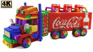 DIY - كيفية صنع شاحنة كوكا كولا من الكرات المغناطيسية (ASMR)