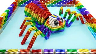 DIY - How To Build Spider In Slime Swimming Pool From Magnetic Balls (Satisfying) | Oddly Magnets