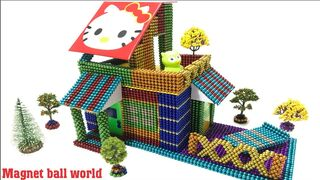 DIY - How To Build Colored Hello Kitty House From Magnetic Balls ( Satisfying ) | Magnet ball world