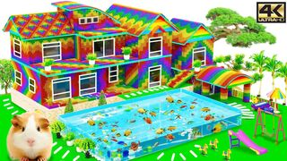 Satisfying Video 4K | How To Build Mega Villa Has Giant Swimming Pool For Hamster | Magnet Creative