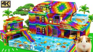 Satisfying Video 4K | How To Build Simple Villa House Has Playground Swimming Pool | Magnet Creative