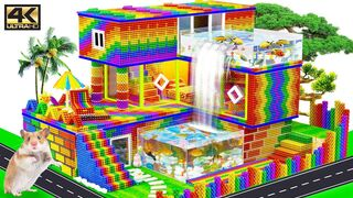 DIY - Build Beautiful Villa House Has Double Swimming Pool & Waterfall For Hamster   Magnet Creative