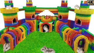 DIY - How To Build Amazing Castle Around Playground for Hamster From Magnetic Balls ( Satisfying )