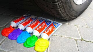 EXPERIMENT: RAINBOW TOOTHPASTE VS CAR by Crazy Factory