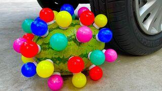 Experiment Car vs Watermelon with Rainbow bulbs   Crushing Crunchy & Soft Things by Car