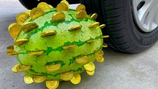 Experiment Car vs Gold Coins Watermelon   Crushing Crunchy & Soft Things by Car